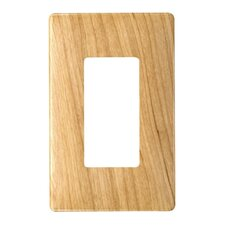 Single Gang Decorator Screwless Wall Plate in Metal maple