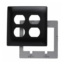 Two Gang Two Outlet Openings Screwless Wall Plate in Black