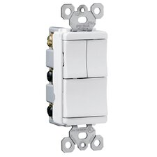 TradeMaster 15A 120V Decorator Three Single Pole Switches in White