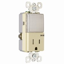 TradeMaster 15A 120/125V Decorator Hallway Light and Single Outlet in Ivory