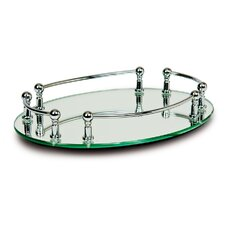Oval Vanity Mirror Tray with Rails