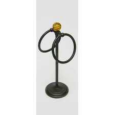 Pedestal Fingertip Towel Ring with Tiger Eye Finial