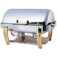 "<strong>SMART Buffet Ware</strong> ""Save on Additional Items""-Odin Oblong Roll Top Chafing Dish with Brass Plated Legs, Heater and Spoon Holder"