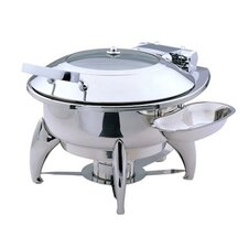 """Save on Additional Items""-Large Round Chafing Dish with Glass Lid, Base and Spoon Holder"