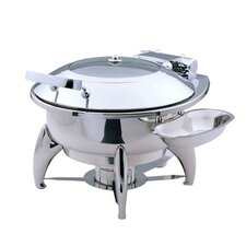 Medium Round Chafing Dish with Glass Lid, Base and Spoon Holder