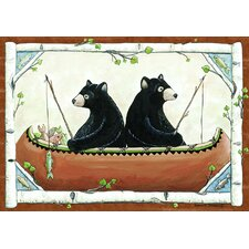 Wildlife Bears in Canoe Novelty Rug