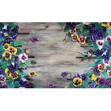 Weather Wood Pansy Doormat