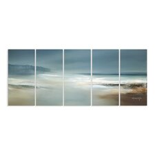 Home Décor Calm Waters and Cloudy Sky Beach Scene Triptych 5 Piece Painting Print on Canvas Set