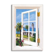 Lighthouse and Palm Trees Painting Print Plaque