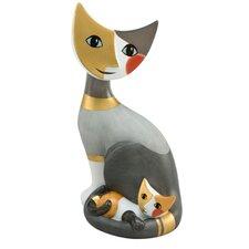 Dekorationsfigur Sitzende Katze mit Katzenkind