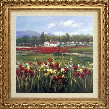 <strong>Phoenix Galleries</strong> Red Flower Field Canvas Transfer Framed Print