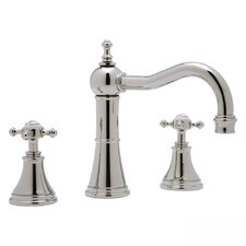 Georgian Era Double Handle Widespread Bathroom Faucet with Pop-Up Drain and Cross Handle