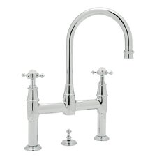 Georgian Era Double Handle Bathroom Faucet with Cross Handle and Remote Pop-Up Drain