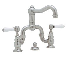 Country Double Handle Bridge Bathroom Faucet with Pop-Up Drain and Lever Handle