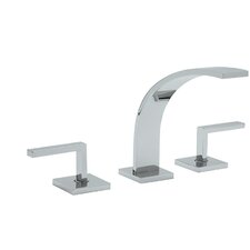 Wave Double Handle Widespread Kitchen Faucet with Pop-Up Drain and Metal Lever Handle