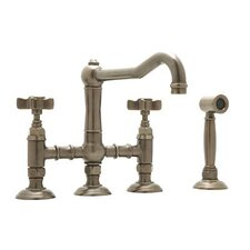 Country Kitchen Two Handle Widespread Lead-Free Bridge Faucet with Five Spoke Handles and Side Spray