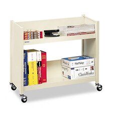 Single-Side Slant Shelf Steel Book Cart, Two Shelves, 28 x 13 x 24-1/2, Putty