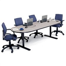 "42"" Deep Race Track Conference Table - Two Grommet Holes"