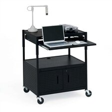 Height Adjustable Multimedia Presentation Cart with 10 Electrical Outlets