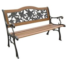 Rose Resin Wood and Cast Iron Park Bench