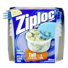 24 Oz Ziploc Tall Round Container (Set of 4)