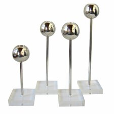 OH Steel and Lucite 4 Piece Candlestick Holder Set