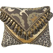 Espresso Synthetic Decorative Pillow 2030 with Braid and Tassel Fringe