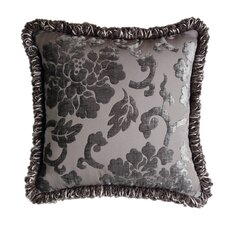 La Rose Synthetic Pillow with Brush Fringe and Embroidered