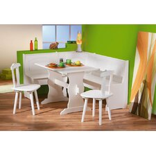 Donau Corner Kitchen Bench with Table and Two Chairs in White