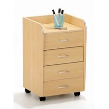 Novo Rolling File Cabinet in Maple