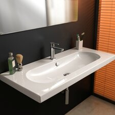 <strong>Ceramica Tecla by Nameeks</strong> EDO Wide Ceramic Bathroom Sink with Overflow