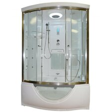 Personal Sliding Door Steam Shower with Whirlpool Bathtub