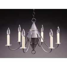 <strong>Northeast Lantern</strong> Chandelier 6 Light Candelabra Socket Hanging Cylinder J-Arms Chandelier