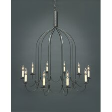 Chandelier 10 Light Candelabra Sockets J-Arms Hanging Chandelier
