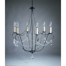 <strong>Northeast Lantern</strong> Chandelier  6 Light Candelabra Sockets Hanging Chandelier with Crystals