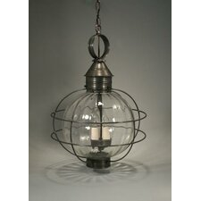 Onion Candelabra Sockets Caged Round 3 Light Hanging Lantern