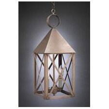 York Candelabra Socket Pyramid Top X-Bars 2 Light Hanging Lantern