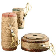 3 Piece Wood Spool with Twine and Scissors Set