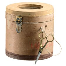 Wood Container with Jute Ball and Scissors