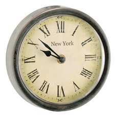 "6.3"" Wood / Glass New York Round Clock"