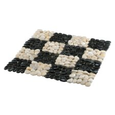 "12"" x 12"" River Stone Checker Tile in Black and White (Set of 4)"
