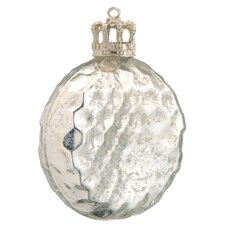 Glass Christmas Disk with Crown Cap (Set of 2)