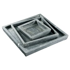 """Fall 3 Piece 6"""" Square Marble Plate Set"""