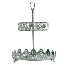 Iron Two-Tier Round Serving Tray