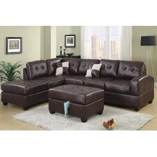 Bobkona Sectional Sofa and Storage Cocktail Ottoman Set
