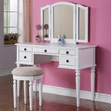 Bobkona St. Croix Bedroom Vanity Set with Stool in White