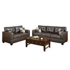 <strong>Poundex</strong> Bobkona Toni 2 Piece Leather Match Sofa and Loveseat Set