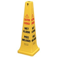 "Safety Cones - yellow 36"" safety cone w/multi ling. ""caution"""