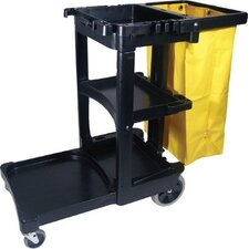 Janitor Cart/Cleaning Trolley - black janitor cart w/zippered yellow vinyl bag