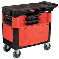 <strong>Rubbermaid Commercial Products</strong> Locking Trades Cart with 2 Shelves in Black